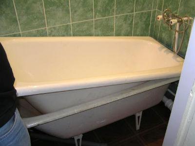 реставрация чугунной ванны с помощью акрилового вкладыша