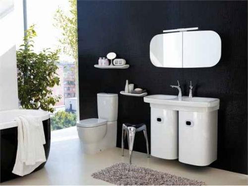 большая черно белая ванная комната фото