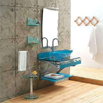 стеклянный умывальник в ванной