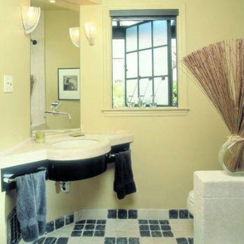 угловая раковина в ванной