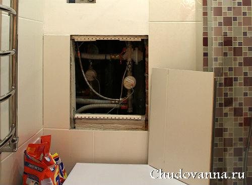маскировка канализационных труб в ванной