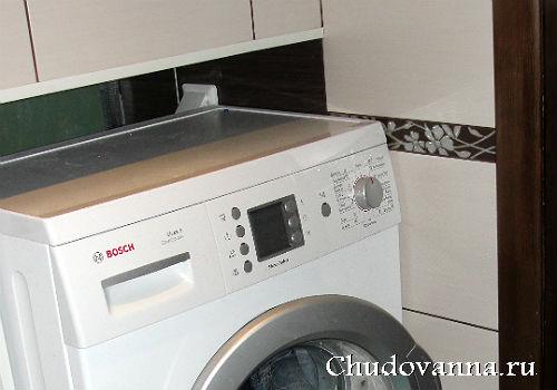 оригинальное решение монтажа стиральной машины в ванной комнате