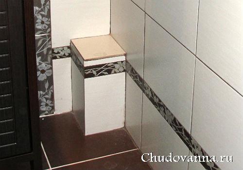 короб из гипсокартона и плитки для скрытия труб в ванной
