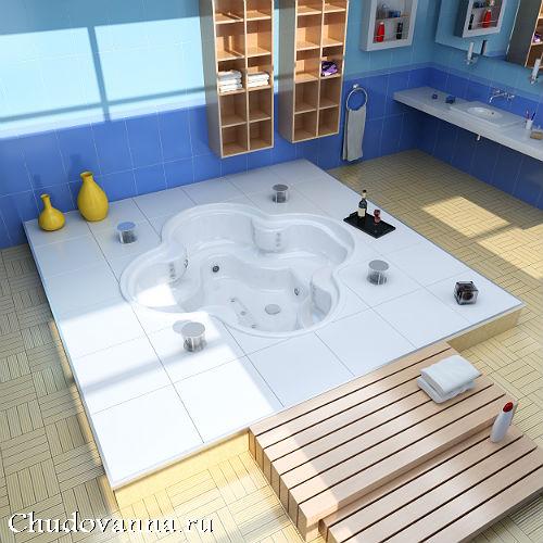 отдельностоящая ванна, вмонтированная в пол