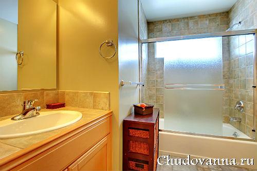 ширма в дизайне ванной комнаты