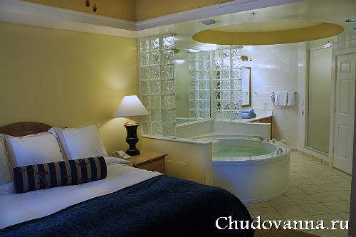 ванна в спальной комнате