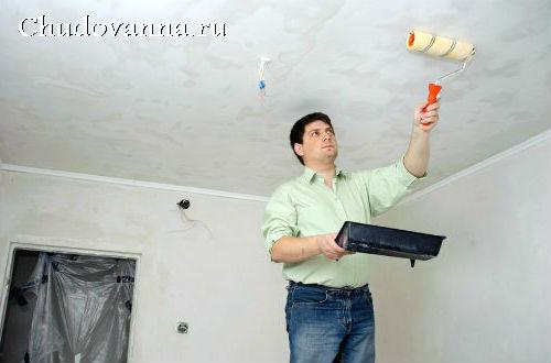 Как смыть побелку с потолка в ванной?