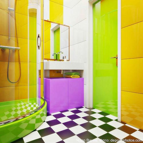 сочетание контрастных цветов в интерьере