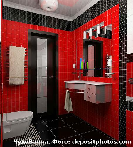 ванная в черно-красном цветовом решении