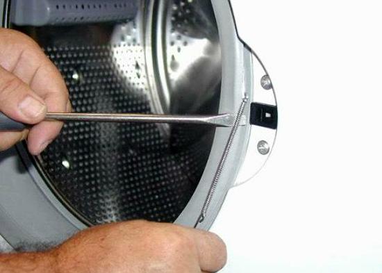 Снятие резинки с барабана стиральной машины