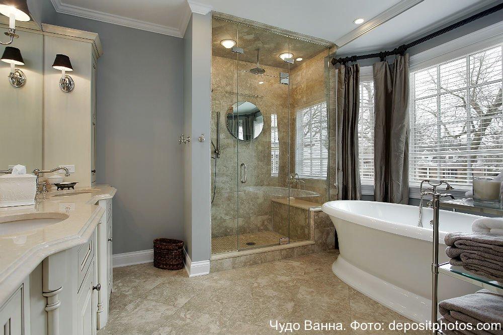 Дизайн и интерьер ванной комнаты с душевой