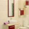 Стильная ванная комната в молочно-красных цветах