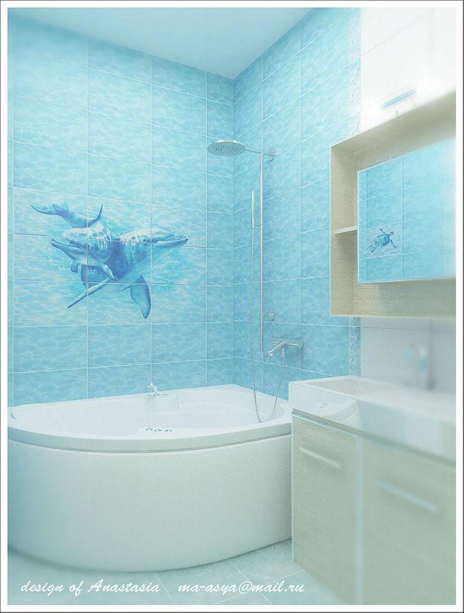 Дизайн ванных комнат с дельфинами