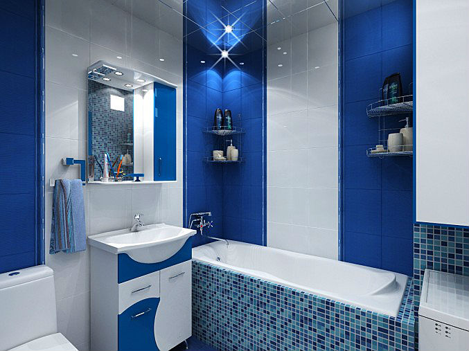 для ванная комната синяя с белым