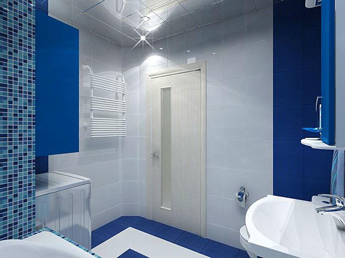 материала полов плитка в маленькую ванную сине-белая поэтому