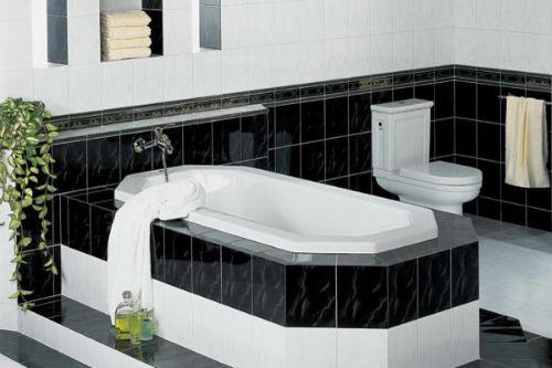 черно белая ванная комната фото