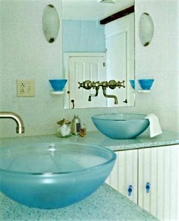 стеклянные раковины для ванны в морском стиле