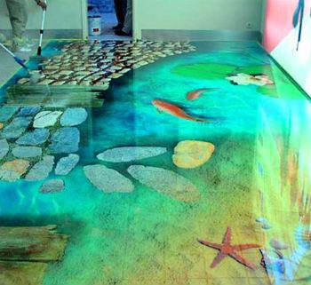 наливной пол 3D в ванной