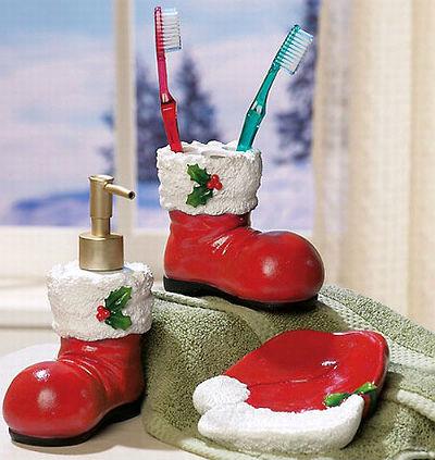 аксессуары для ванной в новогоднем стиле