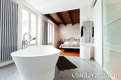 Оформление спални с ванной