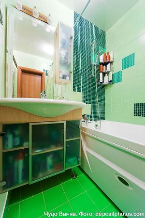 зеленый цвет в дизайне ванной