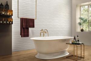 Керамическая плитка в ванную с 3D-эффектом